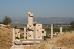 Remains of Ephesus.. The magnificent classical architecture of the famous city of Ephesus Royalty Free Stock Image