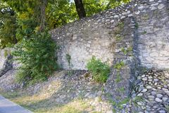 Remains of the fortification wall in Ramnicu Valcea royalty free stock photos