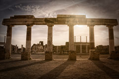 Remains of the forum in Pompeii, Italy. Remains of the forum in the antique site of Pompeii, Italy Stock Image