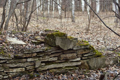 Remains of the foundations of the old house. Stock Photos