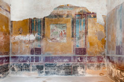 Remains of fresco in ancient house of Pompeii. Italy - Pompeii w Royalty Free Stock Images
