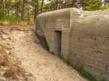Remains of a German world war 2 bunker in The Netherlands. Remains of a german command and control bunker which was used to detect allied aircraft approaching stock photo