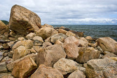 Remains of the Glacial Terminal Moraine. Glacial debris by the seashore of the Long Island Sound located in Long Island, New York. The boulders are the remains Royalty Free Stock Image