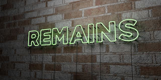 REMAINS - Glowing Neon Sign on stonework wall - 3D rendered royalty free stock illustration Stock Photos