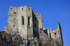 Remains of gothic castle chapel and northern palace of castle Beckov, Slovakia, central Europe Royalty Free Stock Image