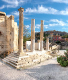 Remains of Hadrian's Library, Plaka and Acropolis Stock Image