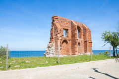 The remains of the historic church. In Trzesacz in Poland Stock Photos