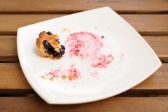 Remains of homemade blueberry pie in square white plate Royalty Free Stock Images