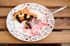 Remains of homemade lattice blueberry pie in square white plate Stock Photos