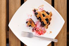 Remains of homemade lattice blueberry pie in square white plate Stock Images