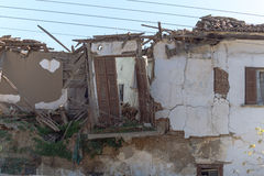 Remains of a house after an earthquake Stock Image