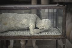 Remains of human in Pompei Royalty Free Stock Image