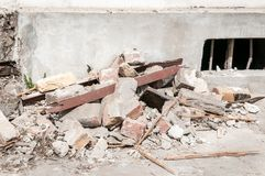 Remains of hurricane or earthquake disaster total damage on ruined old house or building.  Royalty Free Stock Images
