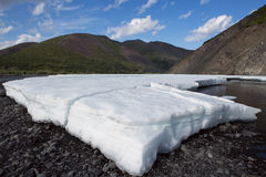 Remains of the ice in the river valley. Stock Photography