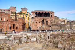 Remains of Imperial forums in Rome Stock Photo