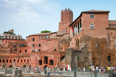 Remains of Imperial forums in Rome Italy Stock Photo