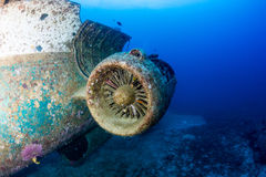 Remains of a jet engine on an underwater aircraft wreck Stock Image