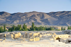 The remains of Jiaohe by sunset. The remains of Jiaohe, Turpan, Xinjiang Province, China Stock Image