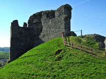 Remains of Kendal castle. With wooden fence Stock Photos