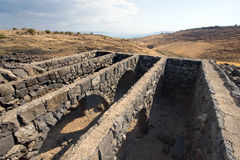 Remains in Korazim. Remains of dwelling houses in the biblical village of Korazim a few kilometer north of the lake of Galilee. Jesus condemned the city in Stock Photos