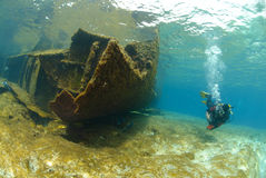 The Remains of the Lara shipwreck. Underwater view of the shipwreck SS Lara which struck Jackson reef situated in the Straits of Tiran in 1982. Jackson Reef, Red Stock Photos