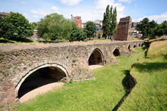 Remains of the medieval Exe Bridge Stock Photo