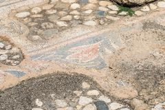 Remains of a mosaic on the floor in ruins of Kursi - a large Byzantine 8th-century monastery on the shores of Lake Tiberias, on th. E Golan Heights Stock Photography