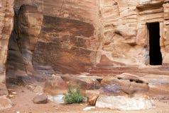 Remains of nabatean city Petra in Jordan Stock Photos