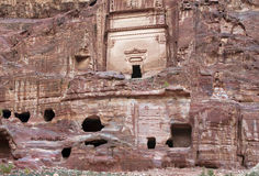 Remains of nabatean city Petra in Jordan Stock Photo