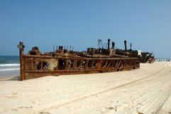 S.S. Maheno in Fraser Island, Australia. royalty free stock photo