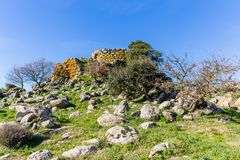 Menhir in Sardinia, Italy. Remains of nuraghe or fortress from the bronze age at Archeological site of Tamuli, Sardinia island, Italy stock images