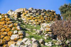 Menhir in Sardinia, Italy. Remains of nuraghe or fortress from the bronze age at Archeological site of Tamuli, Sardinia island, Italy stock photo