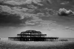 Remains Of Brighton Pier Left Standing In Sea Stock Photo
