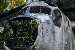 Remains of an old Airplane. The broken down remains of an old abandoned Navy plane Stock Photography