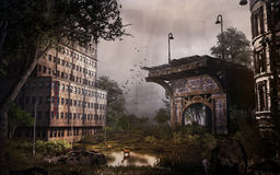 Remains of old bridge in the abandoned city Stock Image