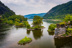 Remains of an old bridge over the Potomac River in Harper's Ferr Stock Image