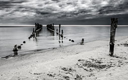 Remains of old broken pier, Baltic Sea, Latvia Royalty Free Stock Photography
