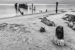 Remains of old broken pier, Baltic Sea, Latvia Royalty Free Stock Image