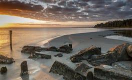 Remains of old broken pier, Baltic Sea, Latvia Royalty Free Stock Photos