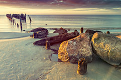 Remains of old broken pier, Baltic Sea, Latvia Royalty Free Stock Image