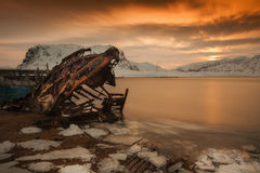 Remains of an old broken ship Stock Image