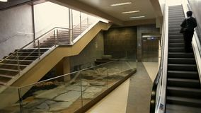 Remains of old civilization in subway station, present versus history, Sofia. Stock footage stock video