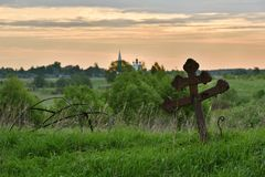Remains of old destroyed church`s dome. Yaroslavl region of Russia Stock Photo