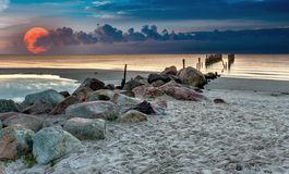 Remains of old fishery pier, Baltic Sea Stock Photography