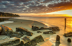 Remains of old fishery pier, Baltic Sea Stock Photo