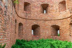Remains of an old fortress in Poznan city, Poland royalty free stock photo