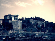 Remains of the old Forum in Rome, Italy in black and white; dramatic, retro style Royalty Free Stock Image