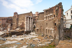 Remains of old Imperial forums in Rome, Italy Stock Photo