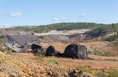 Remains of the old mines of Riotinto in Huelva Spain.  royalty free stock photos