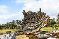 Remains of old shipwreck in a park in Arrecife Stock Images